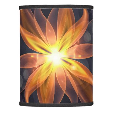Halloween Themed Beautiful Orange Star Lily Fractal Flower at Night Lamp Shade