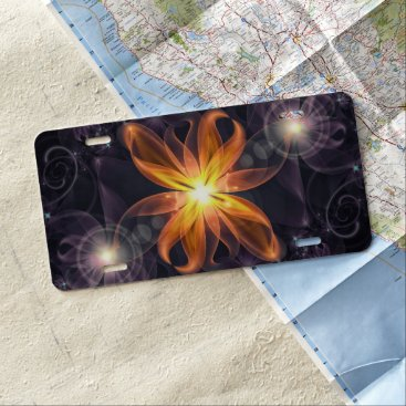 Halloween Themed Beautiful Orange Star Lily Fractal Flower at Night License Plate