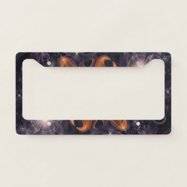 Halloween Themed Beautiful Orange Star Lily Fractal Flower at Night License Plate Frame