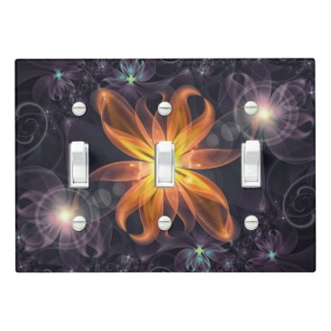 Halloween Themed Beautiful Orange Star Lily Fractal Flower at Night Light Switch Cover