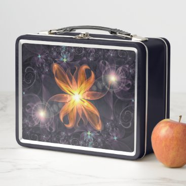 Halloween Themed Beautiful Orange Star Lily Fractal Flower at Night Metal Lunch Box