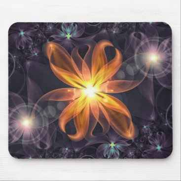 Halloween Themed Beautiful Orange Star Lily Fractal Flower at Night Mouse Pad