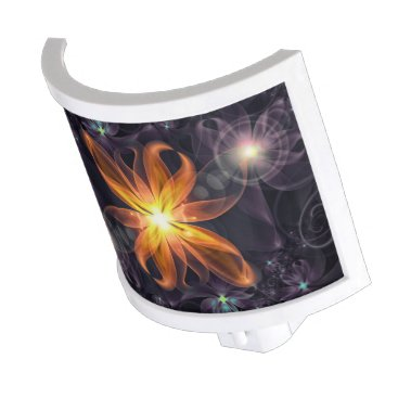 Halloween Themed Beautiful Orange Star Lily Fractal Flower at Night Night Light