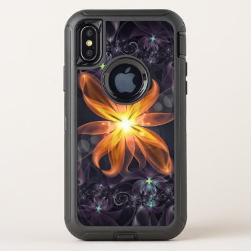 Halloween Themed Beautiful Orange Star Lily Fractal Flower at Night OtterBox Defender iPhone X Case