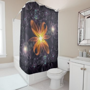 Halloween Themed Beautiful Orange Star Lily Fractal Flower at Night Shower Curtain