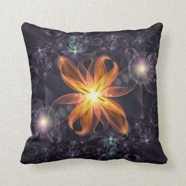 Halloween Themed Beautiful Orange Star Lily Fractal Flower at Night Throw Pillow
