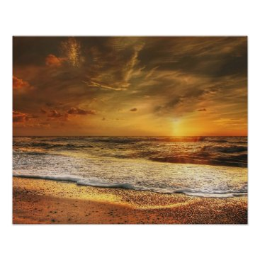Beach Themed Beautiful Orange Sunset on the Beach Poster