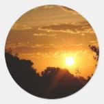 BEAUTIFUL ORANGE SUNSET ROUND STICKER