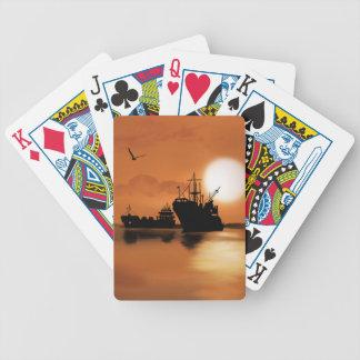Beautiful orange sunset ships birds illustration playing cards