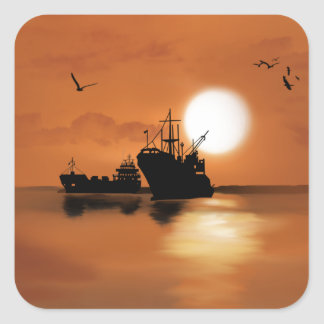 Beautiful orange sunset ships birds illustration square sticker