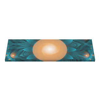 Beautiful Orange-Teal Fractal Lotus Lily Pad Pond. Canvas Print
