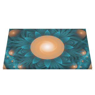 Beautiful Orange-Teal Fractal Lotus Lily Pad Pond. Canvas Print