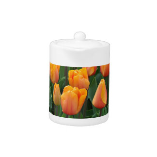 Beautiful orange tulips teapot