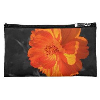 Beautiful Orange Wild Flower Makeup Bag Clutch