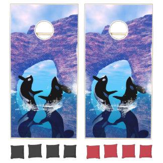 Beautiful orca playing cornhole set
