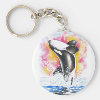 Beautiful Orca Whale Breaching Keychain