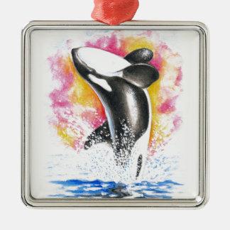 Beautiful Orca Whale Breaching Metal Ornament