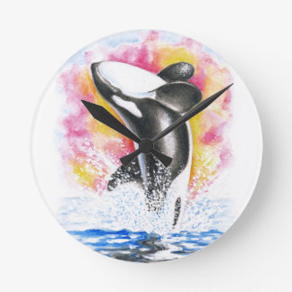 Beautiful Orca Whale Breaching Round Clock