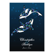 Beautiful Orca Whales Beach Wedding Invitation