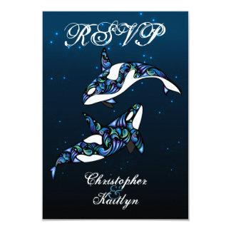 Beautiful Orca Whales Beach Wedding RSVP Card
