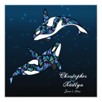 Beautiful Orca Whales Wedding Invitation