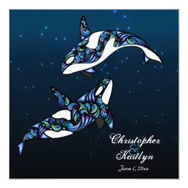 Beach Themed Beautiful Orca Whales Wedding Invitation