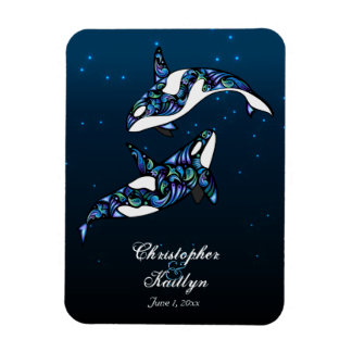 Beautiful Orca Whales Wedding Magnet