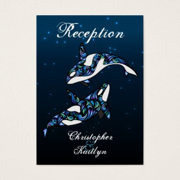 Beach Themed Beautiful Orca Whales Wedding Reception Cards