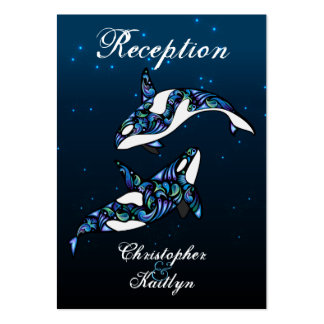 Beautiful Orca Whales Wedding Reception Cards Large Business Cards (Pack Of 100)