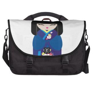Beautiful Oriental Chinese Japanese Doll Laptop Messenger Bag