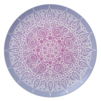 Beautiful Oriental Design Plate purple/blue