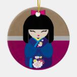 Beautiful Oriental Kokeshi Doll Double-Sided Ceramic Round Christmas Ornament