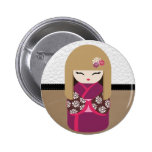 Beautiful Oriental Kokeshi Doll Pinback Button