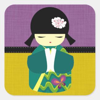 Beautiful Oriental Kokeshi Doll Square Sticker