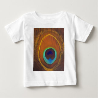 Beautiful original peacock feather hand painted baby T-Shirt