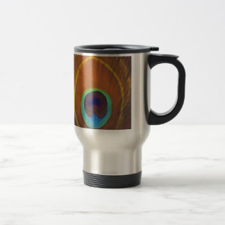 Beautiful original peacock feather hand painted 15 oz stainless steel travel mug
