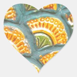 Beautiful ornate tiled pattern heart sticker