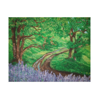 Beautiful outdoor painting with lavenders gallery wrap canvas