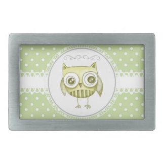 Beautiful Owl with Pastel Polka Dots Custom Teal Rectangular Belt Buckle