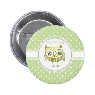 Beautiful Owl with Pastel Polka Dots Custom Teal Pinback Buttons
