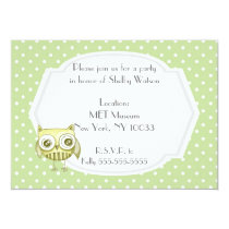 Beautiful Owl with Pastel Polka Dots Custom Teal Card