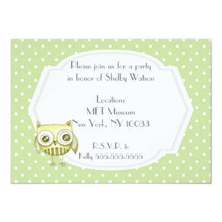 Beautiful Owl with Pastel Polka Dots Custom Teal Card