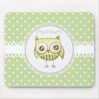 Beautiful Owl with Pastel Polka Dots Custom Teal Mousepad
