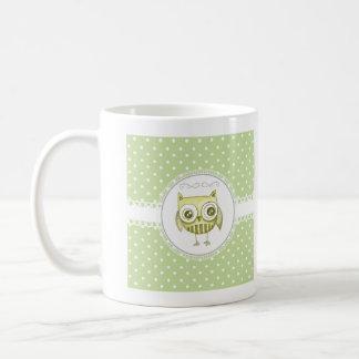 Beautiful Owl with Pastel Polka Dots Custom Teal Mug