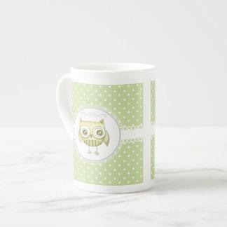 Beautiful Owl with Pastel Polka Dots Custom Teal Porcelain Mug