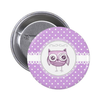 Beautiful Owl with Pastel Polka Dots Lavender Pinback Button