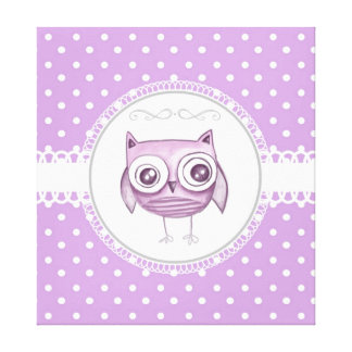 Beautiful Owl with Pastel Polka Dots Lavender Canvas Print