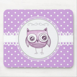 Beautiful Owl with Pastel Polka Dots Lavender Mousepad