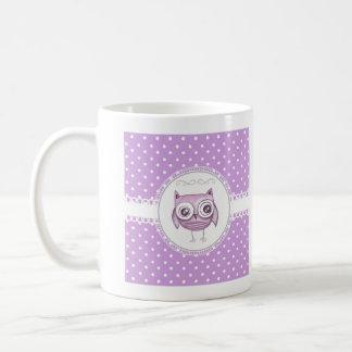 Beautiful Owl with Pastel Polka Dots Lavender Mug