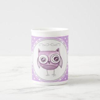 Beautiful Owl with Pastel Polka Dots Lavender Porcelain Mugs